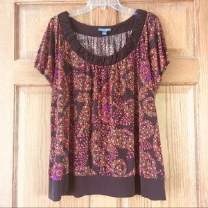 Apt. 9 Brown and Floral Top 2X